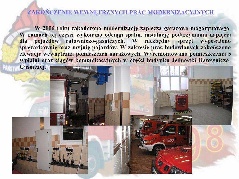 ZAKOŃCZENIE WEWNĘTRZNYCH PRAC MODERNIZACYJNYCH W 2006 roku zakończono modernizację zaplecza garażowo-magazynowego. W ramach tej części wykonano odciąg