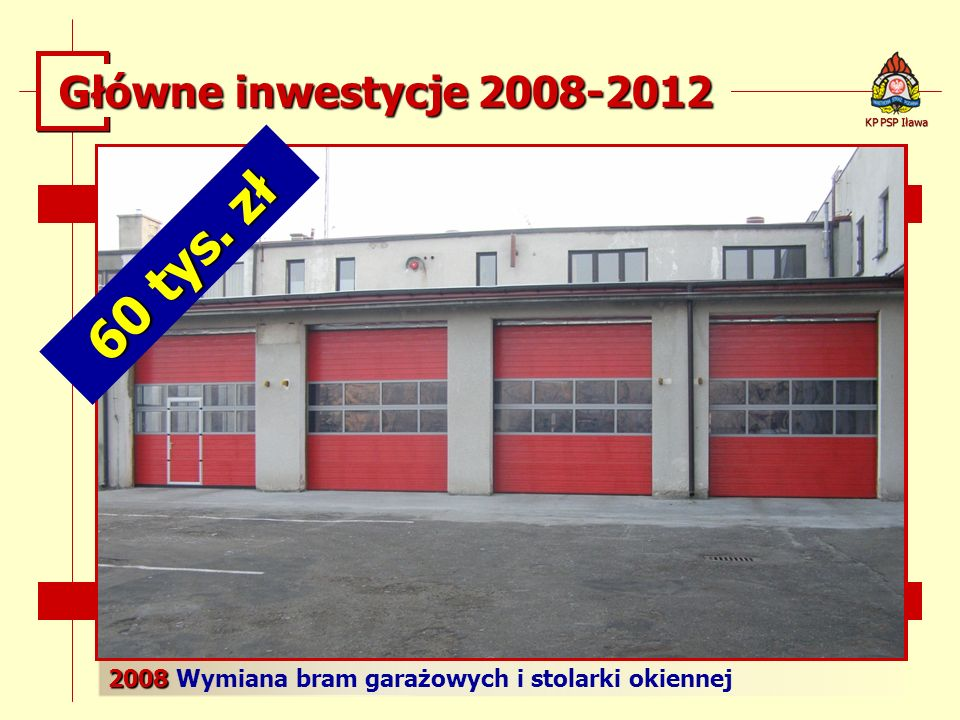 2008 2008 Wymiana bram garażowych i stolarki okiennej KP PSP Iława Główne inwestycje 2008-2012 60 tys. zł