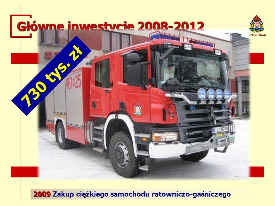 2009 2009 Zakup ciężkiego samochodu ratowniczo-gaśniczego KP PSP Iława Główne inwestycje 2008-2012 730 tys. zł