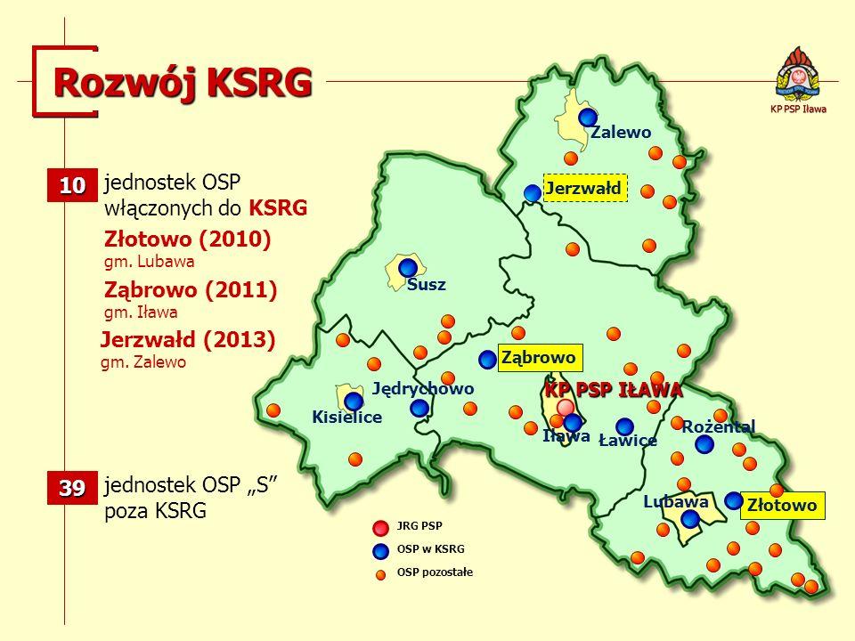 Rozwój KSRG KP PSP IŁAWA jednostek OSP włączonych do KSRG JRG PSP OSP w KSRG OSP pozostałe jednostek OSP S poza KSRG Zalewo Susz Kisielice Iława Lubaw