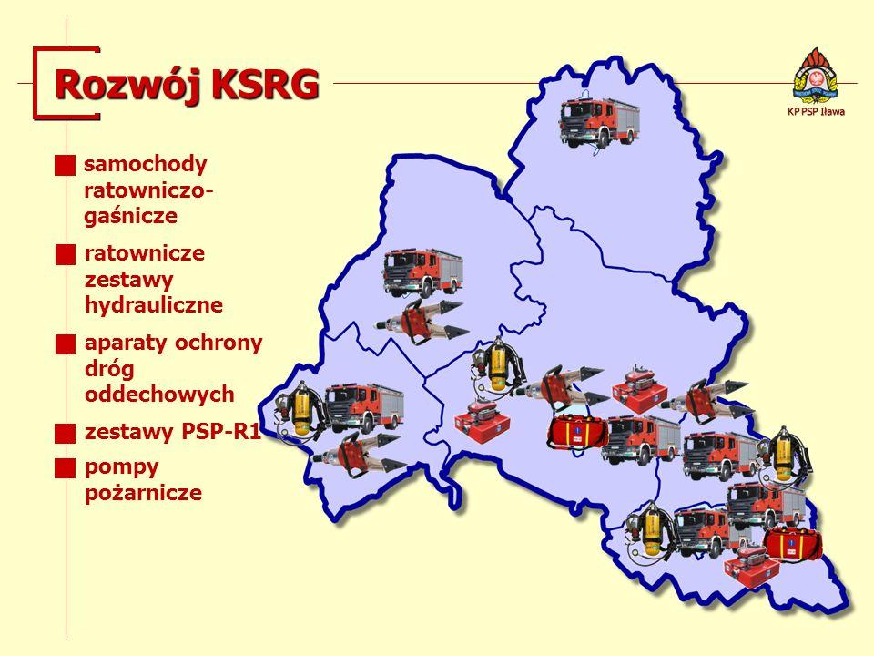 Rozwój KSRG KP PSP Iława samochody ratowniczo- gaśnicze ratownicze zestawy hydrauliczne aparaty ochrony dróg oddechowych zestawy PSP-R1 pompy pożarnic