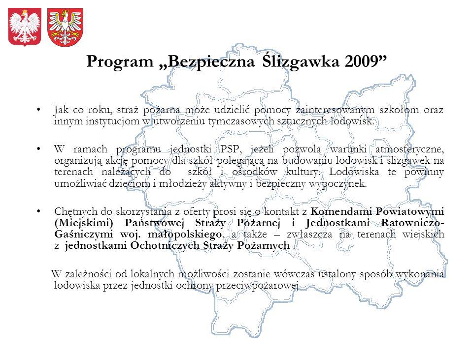 Program Bezpieczna Ślizgawka 2009 Jak co roku, straż pożarna może udzielić pomocy zainteresowanym szkołom oraz innym instytucjom w utworzeniu tymczaso