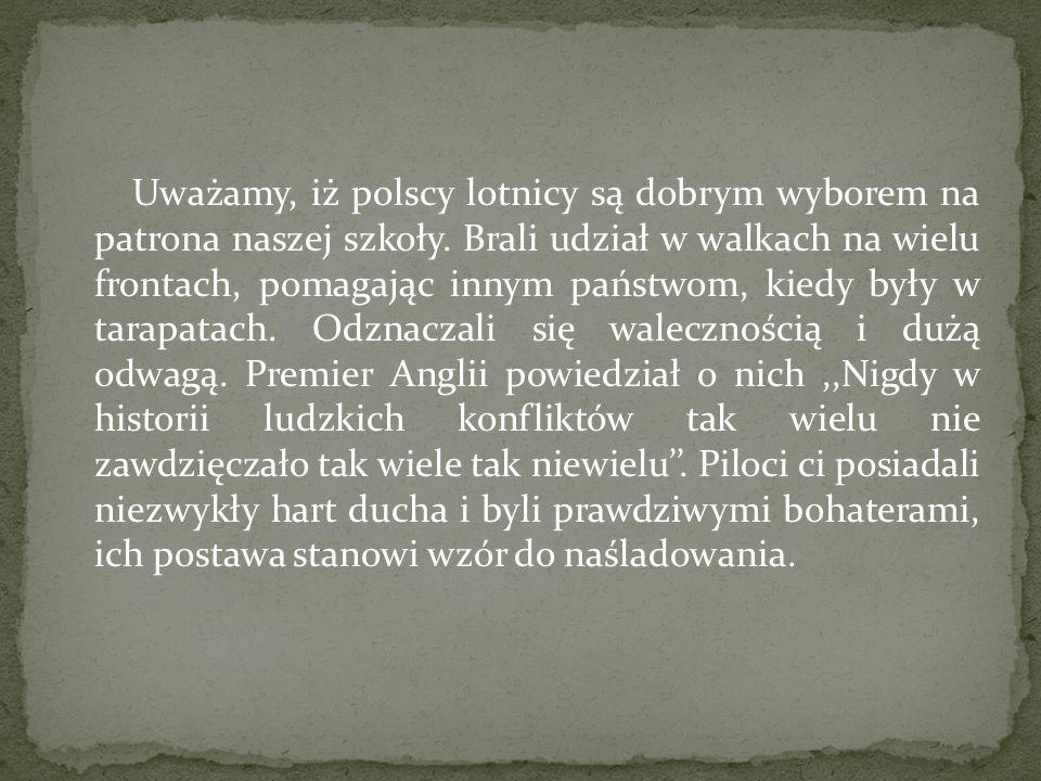 Uważamy, iż polscy lotnicy są dobrym wyborem na patrona naszej szkoły. Brali udział w walkach na wielu frontach, pomagając innym państwom, kiedy były