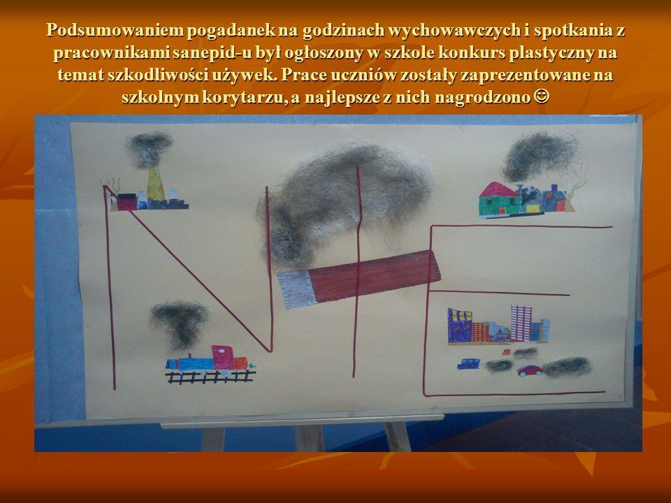 Podsumowaniem pogadanek na godzinach wychowawczych i spotkania z pracownikami sanepid-u był ogłoszony w szkole konkurs plastyczny na temat szkodliwośc