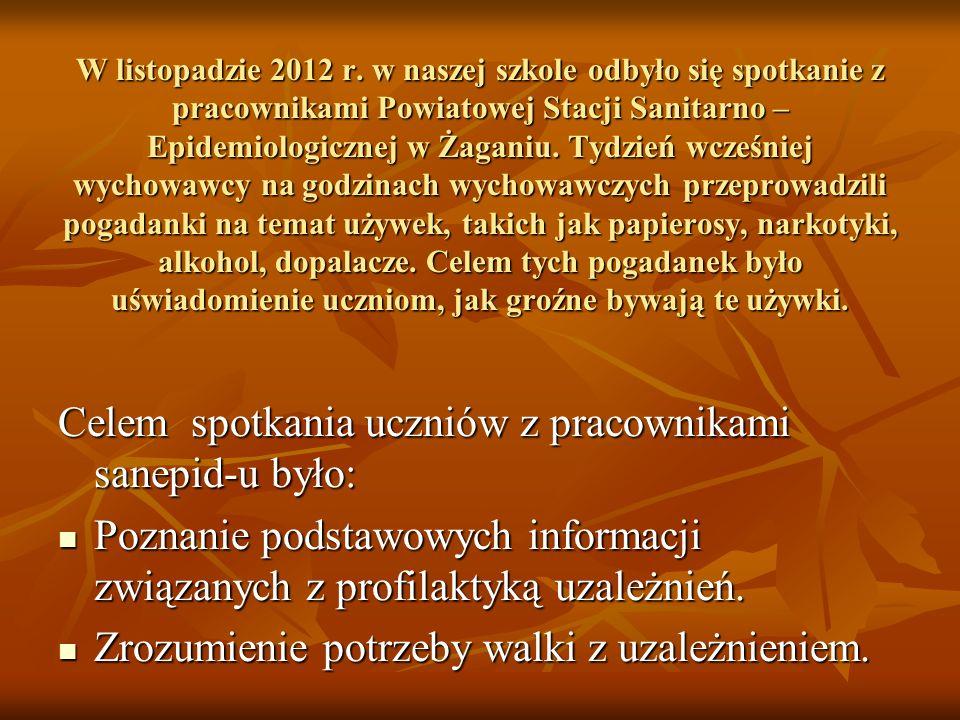 W listopadzie 2012 r. w naszej szkole odbyło się spotkanie z pracownikami Powiatowej Stacji Sanitarno – Epidemiologicznej w Żaganiu. Tydzień wcześniej