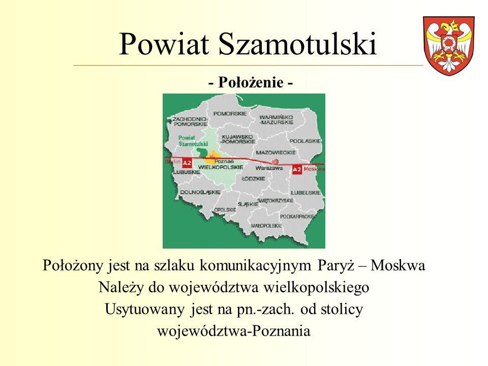 Powiat Szamotulski - Trochę statystyki - Powierzchnia 1 119,6 km 2 Liczba ludności 85 501 Tereny rolnicze zajmują 57,7% ogólnej powierzchni regionu Lasy i grunty leśne stanowią 31,2% powierzchni użytkowej powiatu Obszary prawnie chronione stanowią 21,5% Obejmuje kilkanaście jednostek organizacyjnych (szkoły i placówki oświatowo-wychowawcze, DPS-y, szpital, powiatowe służby i straże, instytucje kultury) Posiada 370,671 km dróg powiatowych