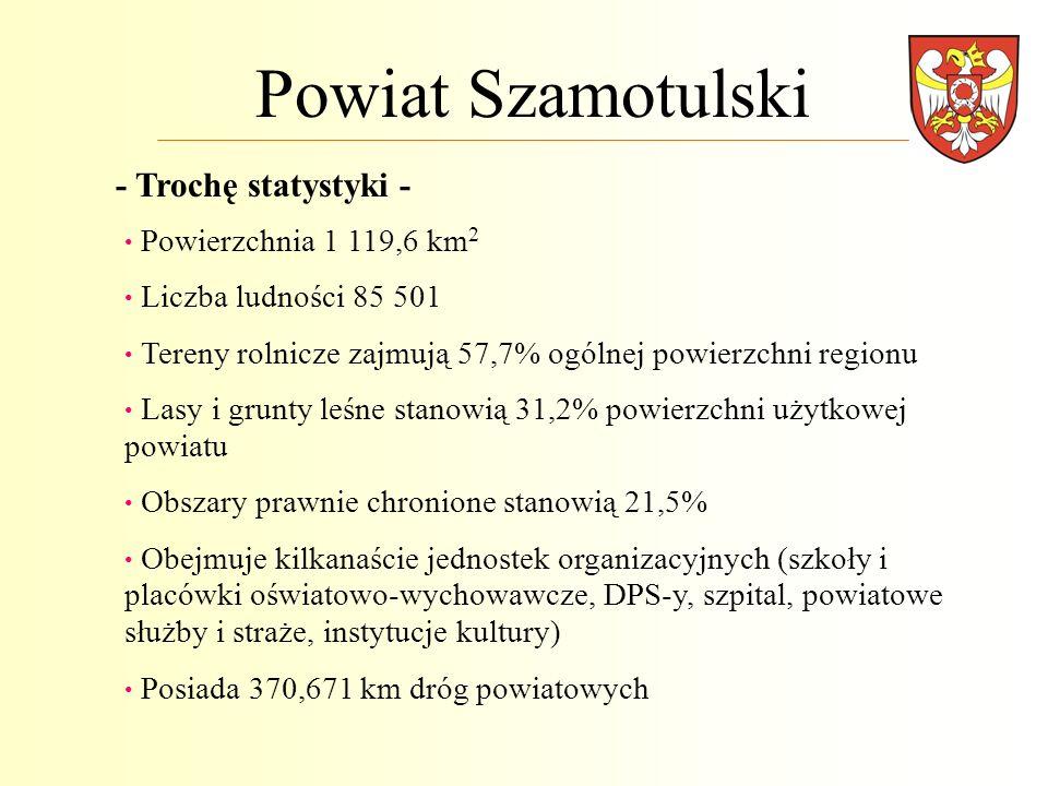 Powiat Szamotulski - Trochę statystyki - Powierzchnia 1 119,6 km 2 Liczba ludności 85 501 Tereny rolnicze zajmują 57,7% ogólnej powierzchni regionu La