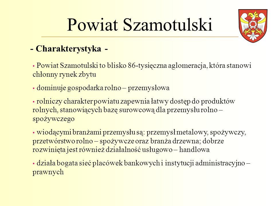 Powiat Szamotulski Powiat Szamotulski to blisko 86-tysięczna aglomeracja, która stanowi chłonny rynek zbytu dominuje gospodarka rolno – przemysłowa ro