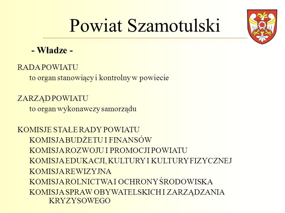 Powiat Szamotulski RADA POWIATU to organ stanowiący i kontrolny w powiecie ZARZĄD POWIATU to organ wykonawczy samorządu KOMISJE STAŁE RADY POWIATU KOM