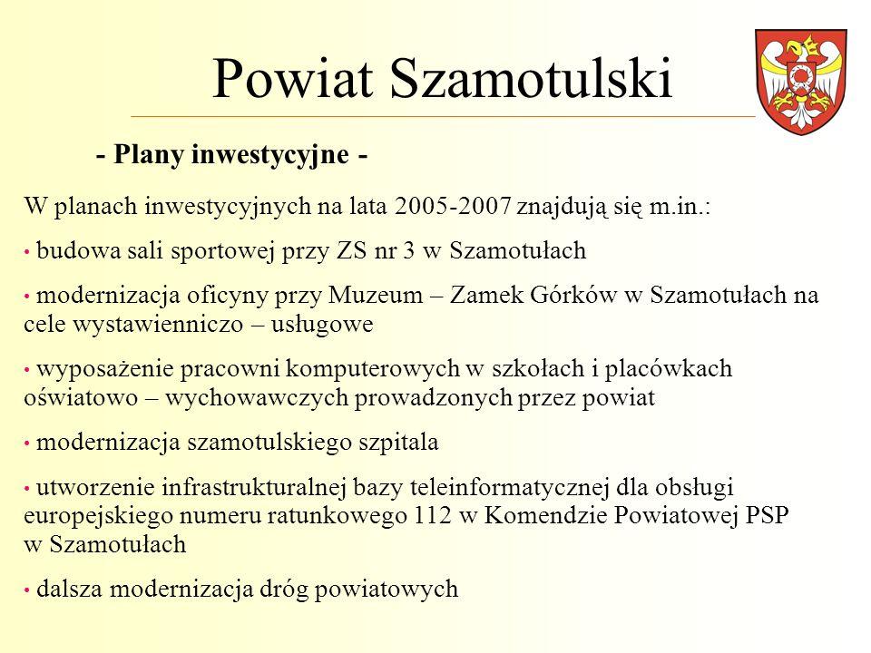 Powiat Szamotulski - Plany inwestycyjne - W planach inwestycyjnych na lata 2005-2007 znajdują się m.in.: budowa sali sportowej przy ZS nr 3 w Szamotuł