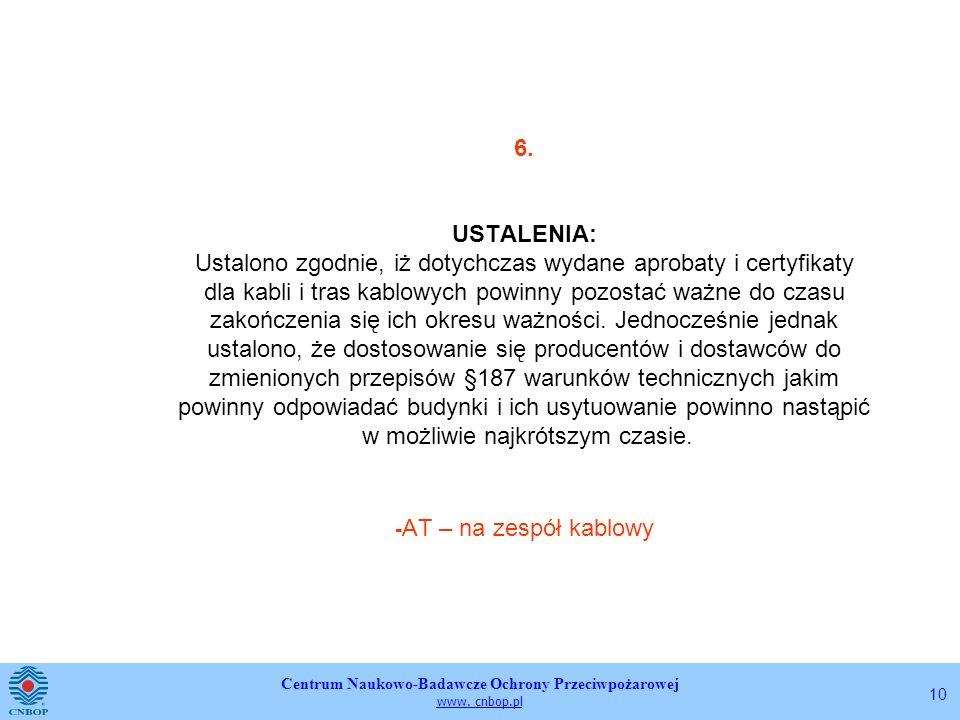Centrum Naukowo-Badawcze Ochrony Przeciwpożarowej www. cnbop.pl 10 6. USTALENIA: Ustalono zgodnie, iż dotychczas wydane aprobaty i certyfikaty dla kab