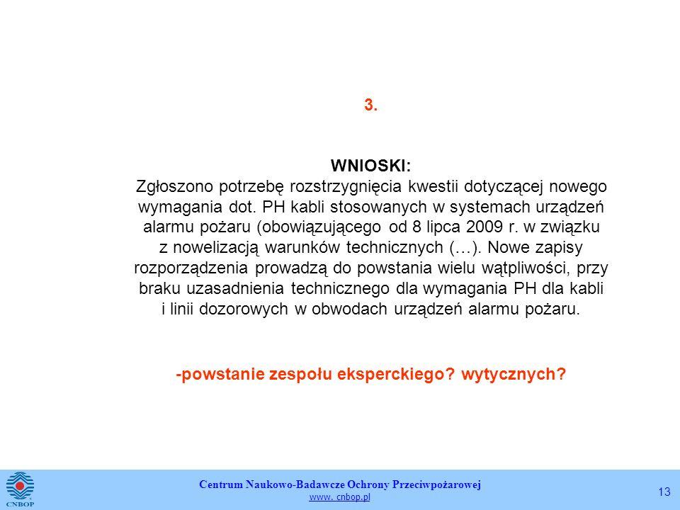 Centrum Naukowo-Badawcze Ochrony Przeciwpożarowej www. cnbop.pl 13 3. WNIOSKI: Zgłoszono potrzebę rozstrzygnięcia kwestii dotyczącej nowego wymagania