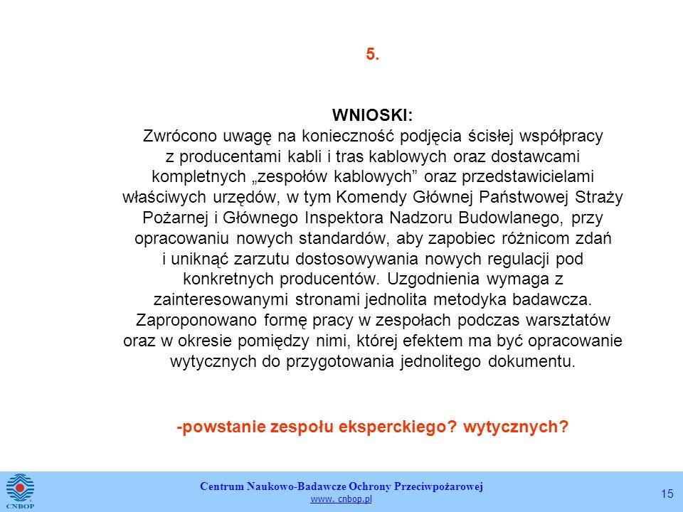 Centrum Naukowo-Badawcze Ochrony Przeciwpożarowej www. cnbop.pl 15 5. WNIOSKI: Zwrócono uwagę na konieczność podjęcia ścisłej współpracy z producentam