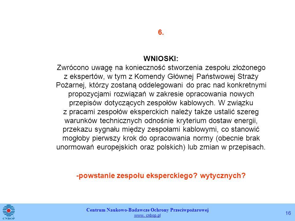 Centrum Naukowo-Badawcze Ochrony Przeciwpożarowej www. cnbop.pl 16 6. WNIOSKI: Zwrócono uwagę na konieczność stworzenia zespołu złożonego z ekspertów,