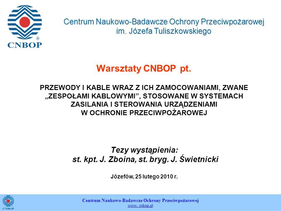 Centrum Naukowo-Badawcze Ochrony Przeciwpożarowej www. cnbop.pl Warsztaty CNBOP pt. PRZEWODY I KABLE WRAZ Z ICH ZAMOCOWANIAMI, ZWANE ZESPOŁAMI KABLOWY