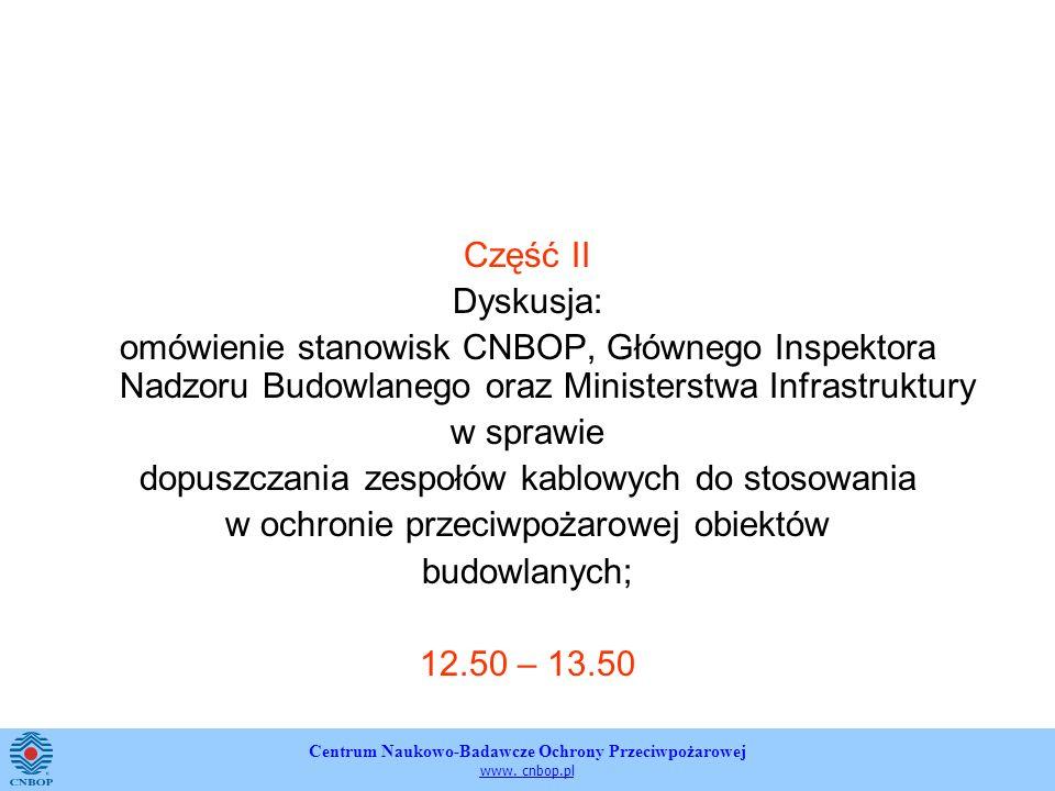 Centrum Naukowo-Badawcze Ochrony Przeciwpożarowej www. cnbop.pl Część II Dyskusja: omówienie stanowisk CNBOP, Głównego Inspektora Nadzoru Budowlanego