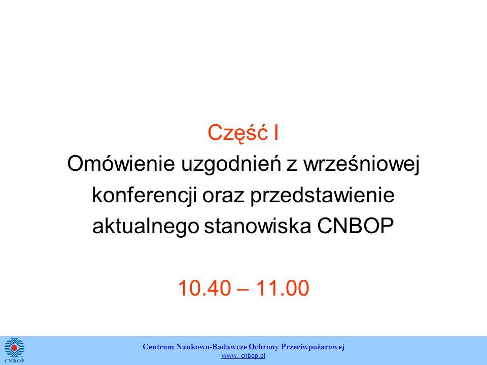 Centrum Naukowo-Badawcze Ochrony Przeciwpożarowej www. cnbop.pl Część I Omówienie uzgodnień z wrześniowej konferencji oraz przedstawienie aktualnego s
