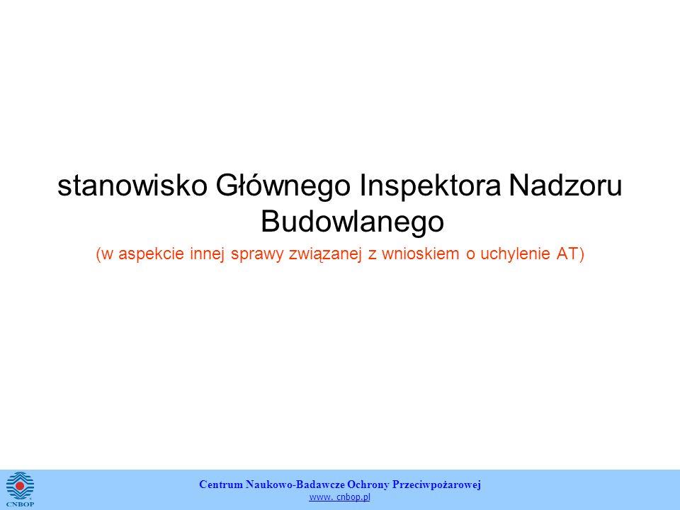 Centrum Naukowo-Badawcze Ochrony Przeciwpożarowej www. cnbop.pl stanowisko Głównego Inspektora Nadzoru Budowlanego (w aspekcie innej sprawy związanej