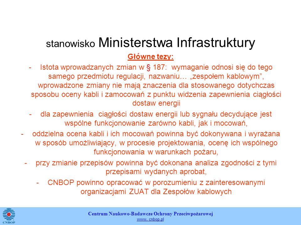 stanowisko Ministerstwa Infrastruktury Główne tezy: -Istota wprowadzanych zmian w § 187: wymaganie odnosi się do tego samego przedmiotu regulacji, nazwaniu… zespołem kablowym, wprowadzone zmiany nie mają znaczenia dla stosowanego dotychczas sposobu oceny kabli i zamocowań z punktu widzenia zapewnienia ciągłości dostaw energii -dla zapewnienia ciągłości dostaw energii lub sygnału decydujące jest wspólne funkcjonowanie zarówno kabli, jak i mocowań, -oddzielna ocena kabli i ich mocowań powinna być dokonywana i wyrażana w sposób umożliwiający, w procesie projektowania, ocenę ich wspólnego funkcjonowania w warunkach pożaru, -przy zmianie przepisów powinna być dokonana analiza zgodności z tymi przepisami wydanych aprobat, -CNBOP powinno opracować w porozumieniu z zainteresowanymi organizacjami ZUAT dla Zespołów kablowych