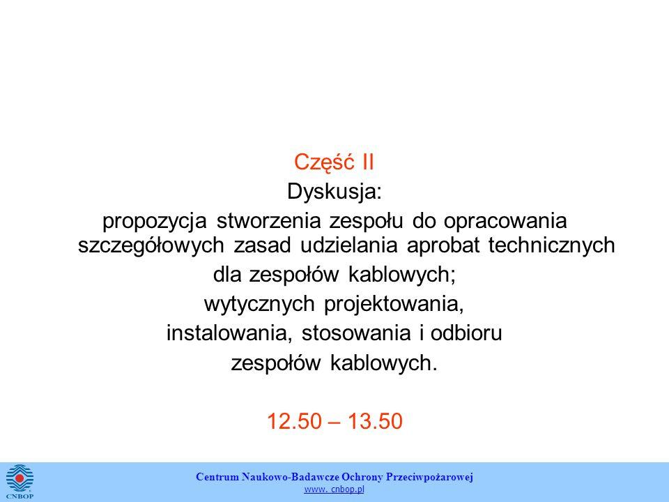 Centrum Naukowo-Badawcze Ochrony Przeciwpożarowej www. cnbop.pl Część II Dyskusja: propozycja stworzenia zespołu do opracowania szczegółowych zasad ud