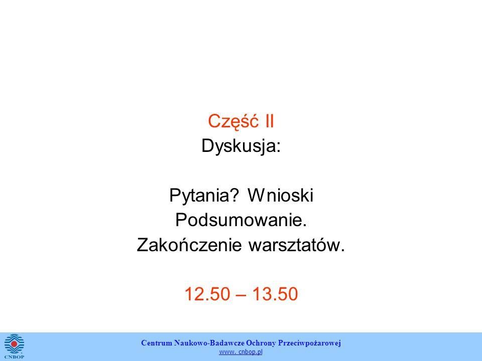 Centrum Naukowo-Badawcze Ochrony Przeciwpożarowej www. cnbop.pl Część II Dyskusja: Pytania? Wnioski Podsumowanie. Zakończenie warsztatów. 12.50 – 13.5