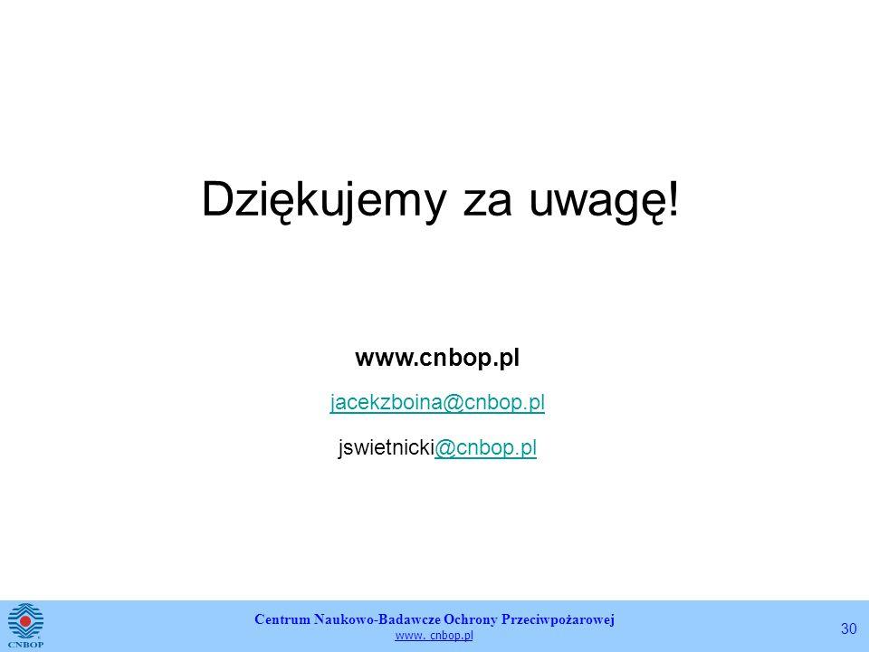 Centrum Naukowo-Badawcze Ochrony Przeciwpożarowej www. cnbop.pl 30 Dziękujemy za uwagę! www.cnbop.pl jacekzboina@cnbop.pl jswietnicki@cnbop.pl@cnbop.p