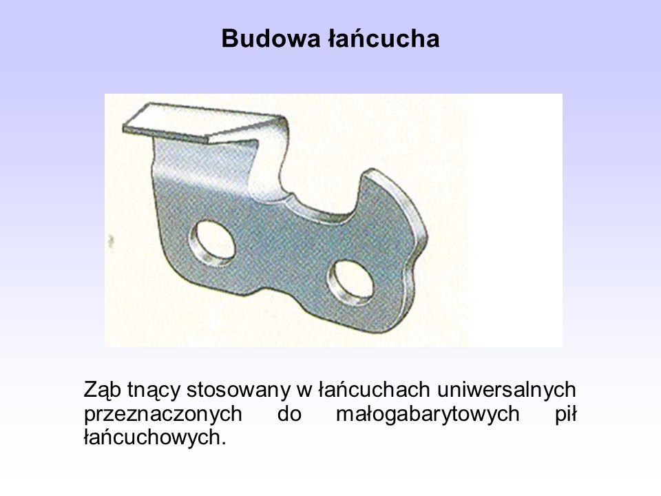 Ząb tnący stosowany w łańcuchach uniwersalnych przeznaczonych do małogabarytowych pił łańcuchowych. Budowa łańcucha