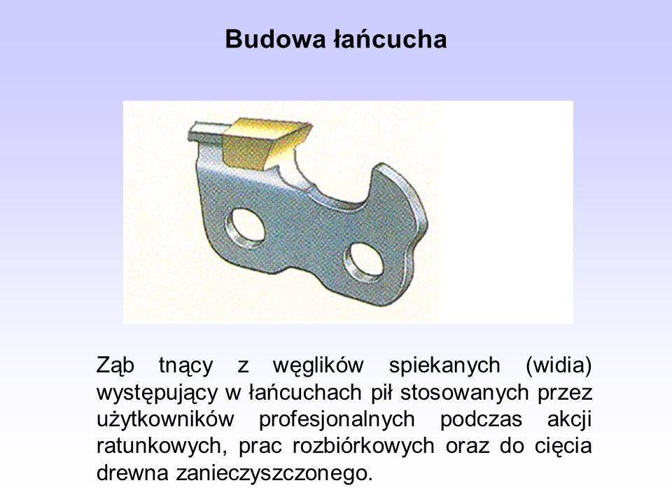 Ząb tnący z węglików spiekanych (widia) występujący w łańcuchach pił stosowanych przez użytkowników profesjonalnych podczas akcji ratunkowych, prac ro