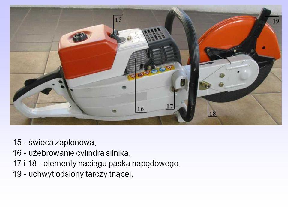 15 - świeca zapłonowa, 16 - użebrowanie cylindra silnika, 17 i 18 - elementy naciągu paska napędowego, 19 - uchwyt odsłony tarczy tnącej.