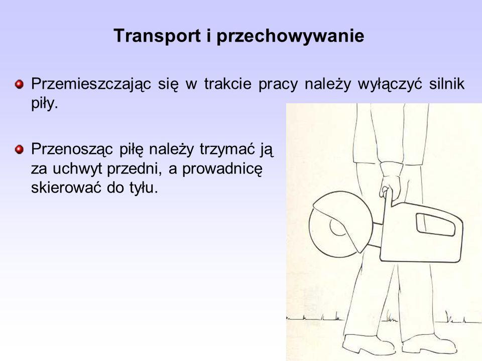 Transport i przechowywanie Przemieszczając się w trakcie pracy należy wyłączyć silnik piły. Przenosząc piłę należy trzymać ją za uchwyt przedni, a pro