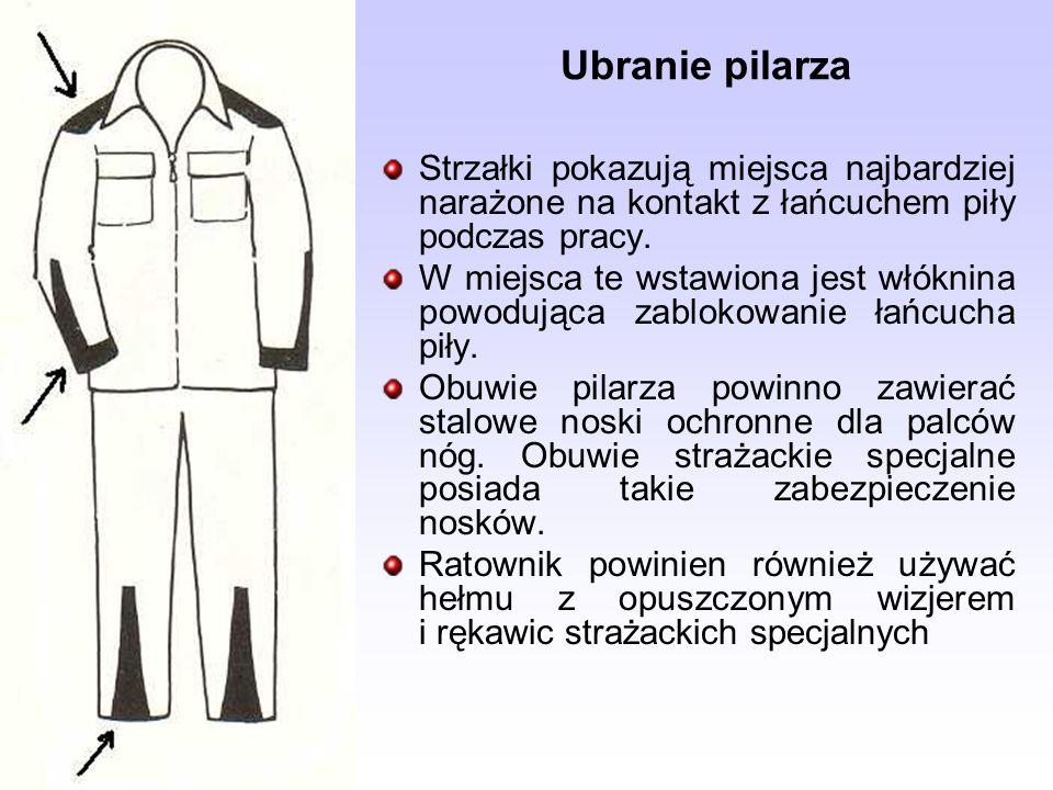 Ubranie pilarza Strzałki pokazują miejsca najbardziej narażone na kontakt z łańcuchem piły podczas pracy. W miejsca te wstawiona jest włóknina powoduj