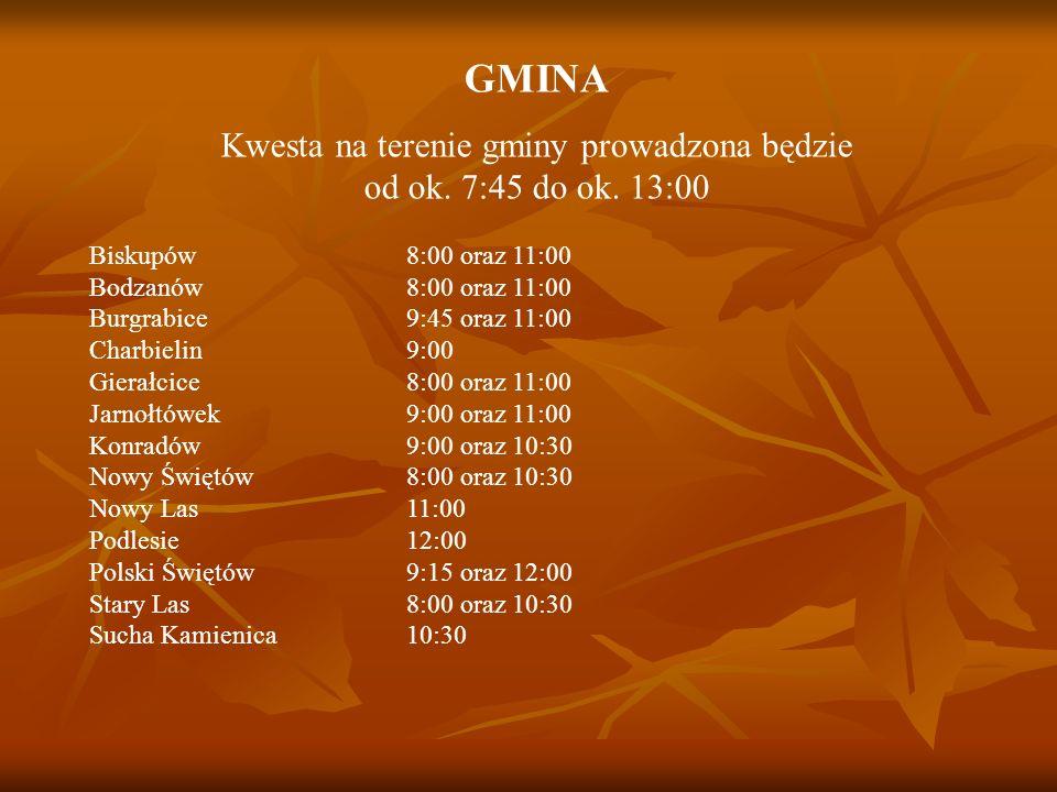 GMINA Kwesta na terenie gminy prowadzona będzie od ok. 7:45 do ok. 13:00 Biskupów 8:00 oraz 11:00 Bodzanów 8:00 oraz 11:00 Burgrabice 9:45 oraz 11:00