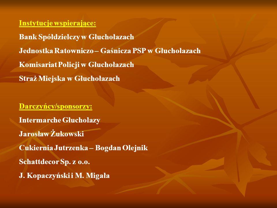 Instytucje wspierające: Bank Spółdzielczy w Głuchołazach Jednostka Ratowniczo – Gaśnicza PSP w Głuchołazach Komisariat Policji w Głuchołazach Straż Mi