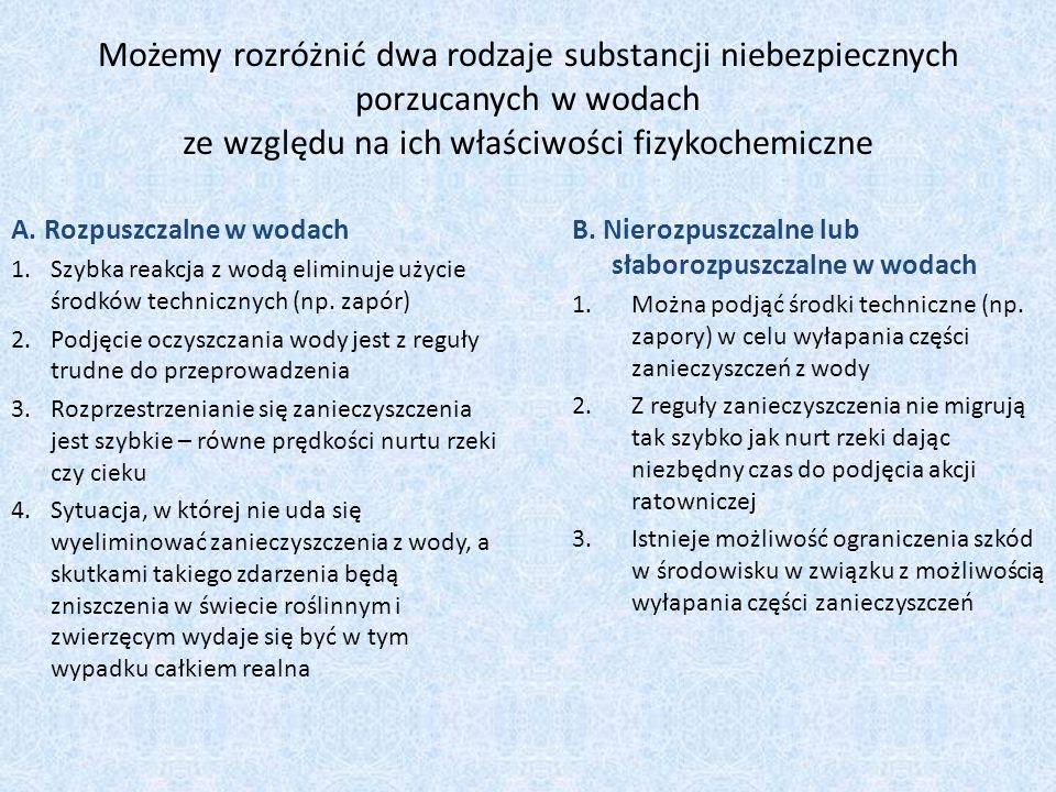 Możemy rozróżnić dwa rodzaje substancji niebezpiecznych porzucanych w wodach ze względu na ich właściwości fizykochemiczne A. Rozpuszczalne w wodach 1