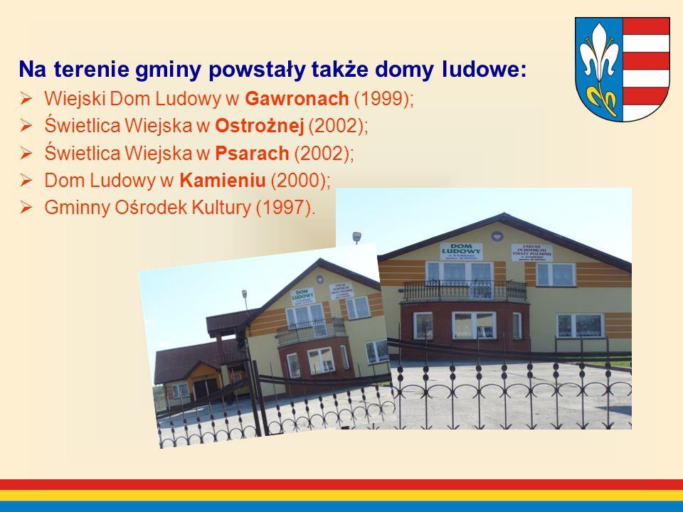 Na terenie gminy powstały także domy ludowe: Wiejski Dom Ludowy w Gawronach (1999); Świetlica Wiejska w Ostrożnej (2002); Świetlica Wiejska w Psarach (2002); Dom Ludowy w Kamieniu (2000); Gminny Ośrodek Kultury (1997).