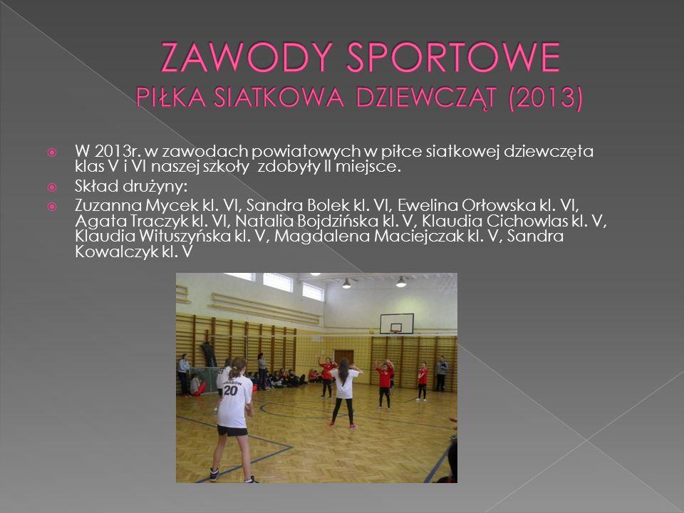 W 2013r. w zawodach powiatowych w piłce siatkowej dziewczęta klas V i VI naszej szkoły zdobyły II miejsce. Skład drużyny: Zuzanna Mycek kl. VI, Sandra