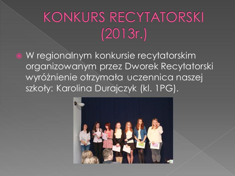 W regionalnym konkursie recytatorskim organizowanym przez Dworek Recytatorski wyróżnienie otrzymała uczennica naszej szkoły: Karolina Durajczyk (kl. 1