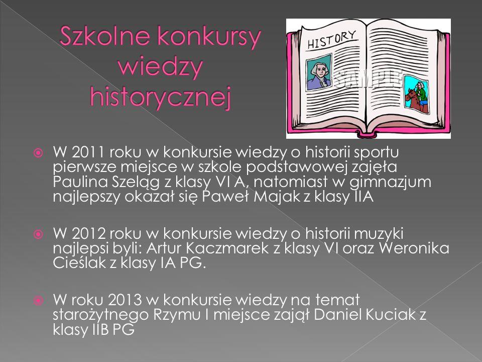 W 2011 roku w konkursie wiedzy o historii sportu pierwsze miejsce w szkole podstawowej zajęła Paulina Szeląg z klasy VI A, natomiast w gimnazjum najle