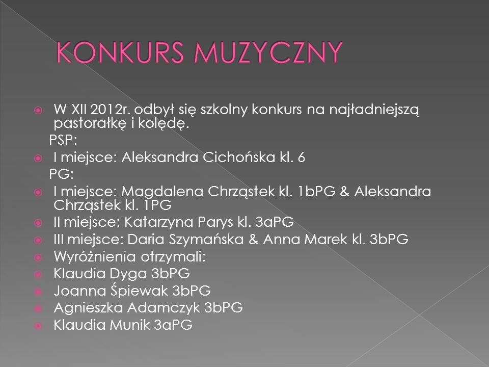 W XII 2012r. odbył się szkolny konkurs na najładniejszą pastorałkę i kolędę. PSP: I miejsce: Aleksandra Cichońska kl. 6 PG: I miejsce: Magdalena Chrzą
