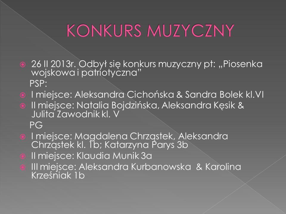 26 II 2013r. Odbył się konkurs muzyczny pt: Piosenka wojskowa i patriotyczna PSP: I miejsce: Aleksandra Cichońska & Sandra Bolek kl.VI II miejsce: Nat