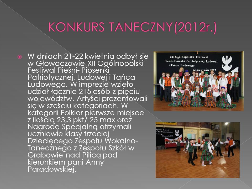 W dniach 21-22 kwietnia odbył się w Głowaczowie XII Ogólnopolski Festiwal Pieśni- Piosenki Patriotycznej, Ludowej i Tańca Ludowego. W imprezie wzięło