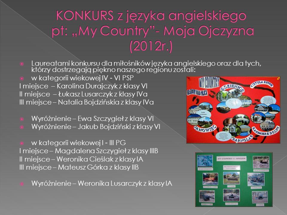 Laureatami konkursu dla miłośników języka angielskiego oraz dla tych, którzy dostrzegają piękno naszego regionu zostali: w kategorii wiekowej IV - VI