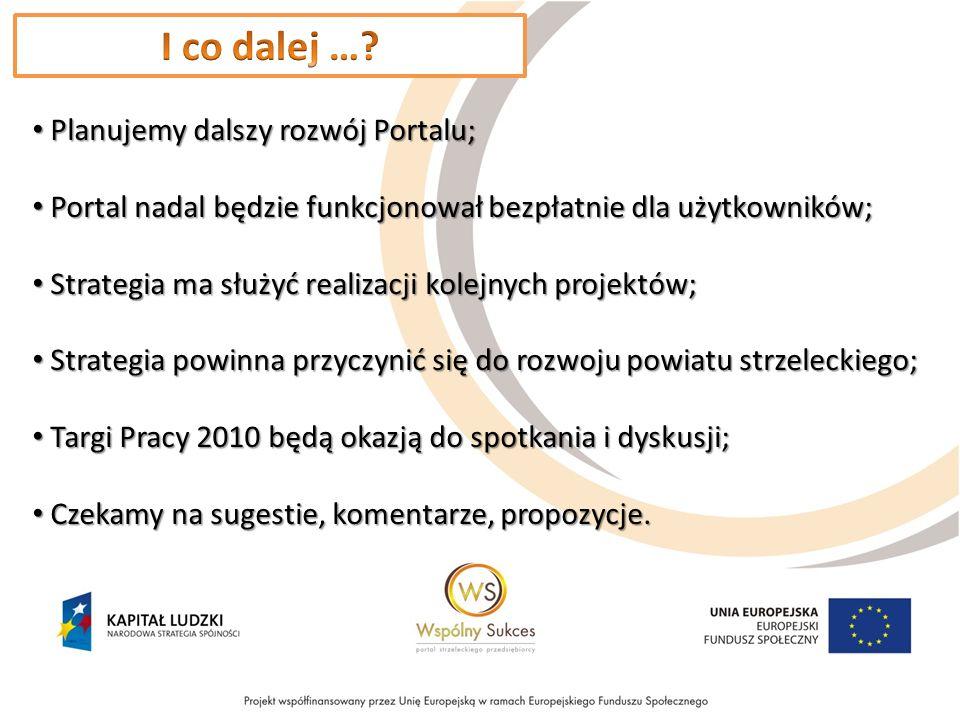Planujemy dalszy rozwój Portalu; Planujemy dalszy rozwój Portalu; Portal nadal będzie funkcjonował bezpłatnie dla użytkowników; Portal nadal będzie funkcjonował bezpłatnie dla użytkowników; Strategia ma służyć realizacji kolejnych projektów; Strategia ma służyć realizacji kolejnych projektów; Strategia powinna przyczynić się do rozwoju powiatu strzeleckiego; Strategia powinna przyczynić się do rozwoju powiatu strzeleckiego; Targi Pracy 2010 będą okazją do spotkania i dyskusji; Targi Pracy 2010 będą okazją do spotkania i dyskusji; Czekamy na sugestie, komentarze, propozycje.