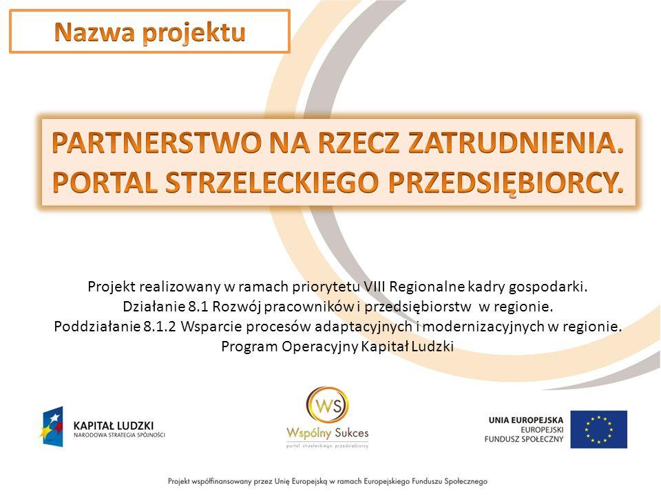 Projekt realizowany w ramach priorytetu VIII Regionalne kadry gospodarki.