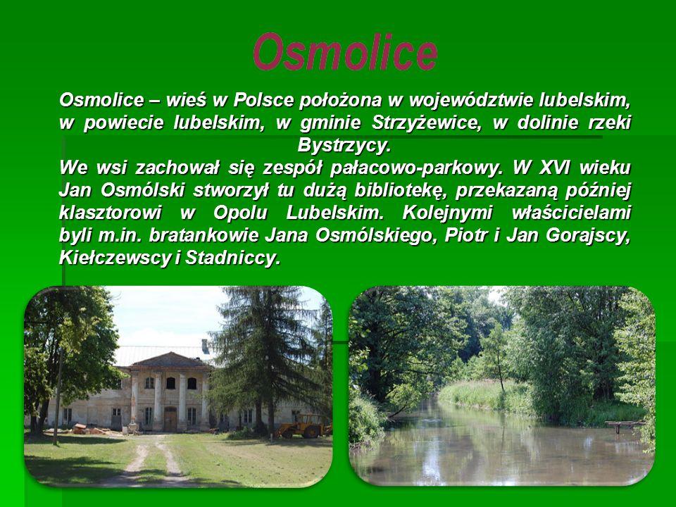 Osmolice – wieś w Polsce położona w województwie lubelskim, w powiecie lubelskim, w gminie Strzyżewice, w dolinie rzeki Bystrzycy. We wsi zachował się