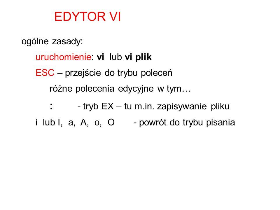 EDYTOR VI ogólne zasady: uruchomienie: vi lub vi plik ESC – przejście do trybu poleceń różne polecenia edycyjne w tym… : - tryb EX – tu m.in. zapisywa