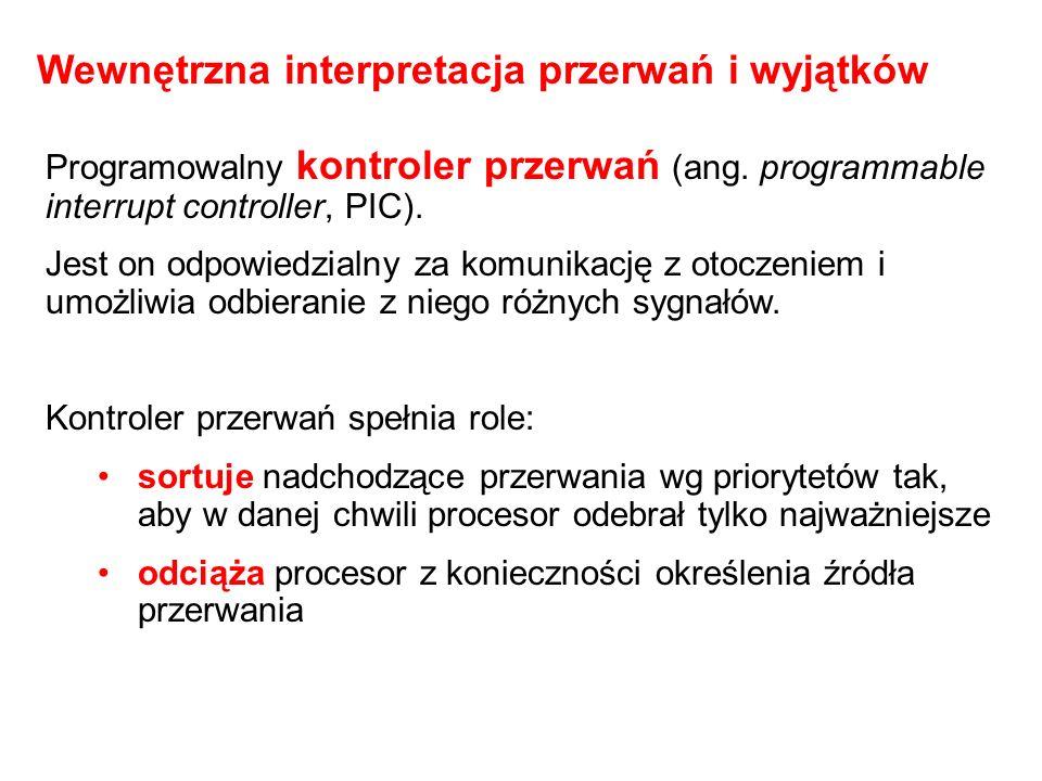Programowalny kontroler przerwań (ang. programmable interrupt controller, PIC). Jest on odpowiedzialny za komunikację z otoczeniem i umożliwia odbiera