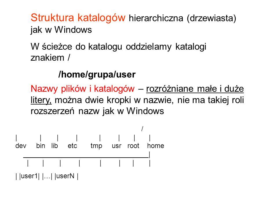 Struktura katalogów hierarchiczna (drzewiasta) jak w Windows W ścieżce do katalogu oddzielamy katalogi znakiem / /home/grupa/user Nazwy plików i katalogów – rozróżniane małe i duże litery, można dwie kropki w nazwie, nie ma takiej roli rozszerzeń nazw jak w Windows / | | | | | | || dev bin lib etc tmp usr root home | | | | | | | || | |user1| |…| |userN |