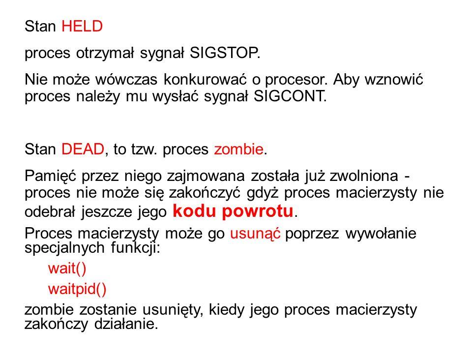Stan HELD proces otrzymał sygnał SIGSTOP. Nie może wówczas konkurować o procesor. Aby wznowić proces należy mu wysłać sygnał SIGCONT. Stan DEAD, to tz