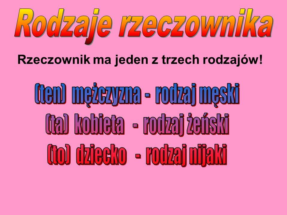 Przykłady Rodzaj męski pies człowiek mur wół sok Kraków Rodzaj żeński kotka kołyska dama lipa Polska Rodzaj nijaki cielę źrebię okno drzewo miasto